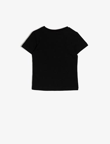 Koton Kids Yazili Baskili T-Shirt Siyah
